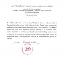 Jezyki Katowice list referencyjny