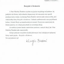 Kinga Biedron - klient indywidualny list referencyjny
