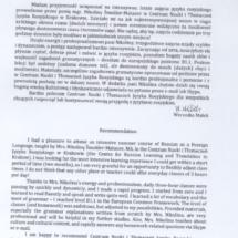 Referencje - p. Weronika Małek